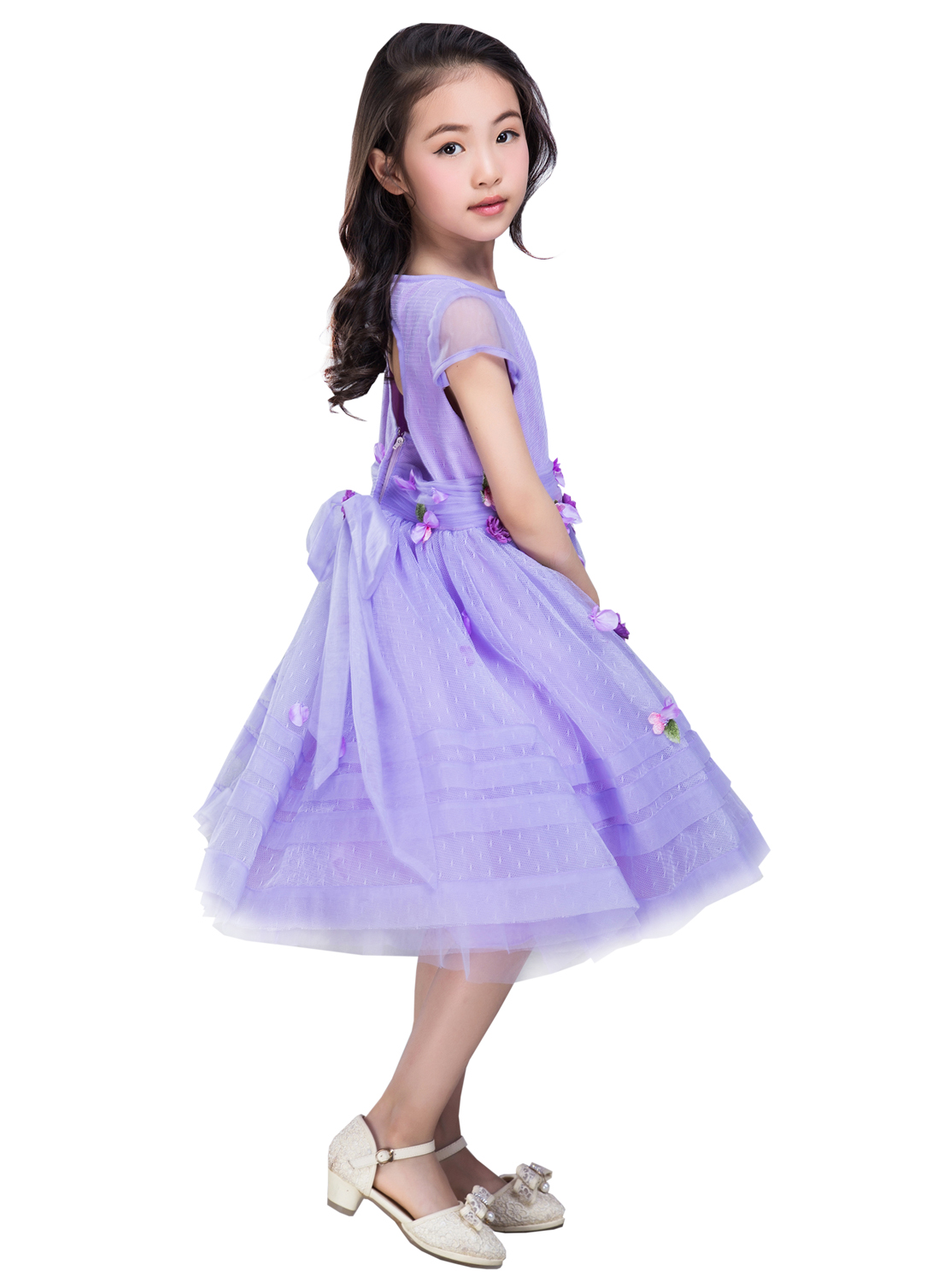 Emondora Flower Girl Lace Dress Princess Formal Birthday Party Dresses