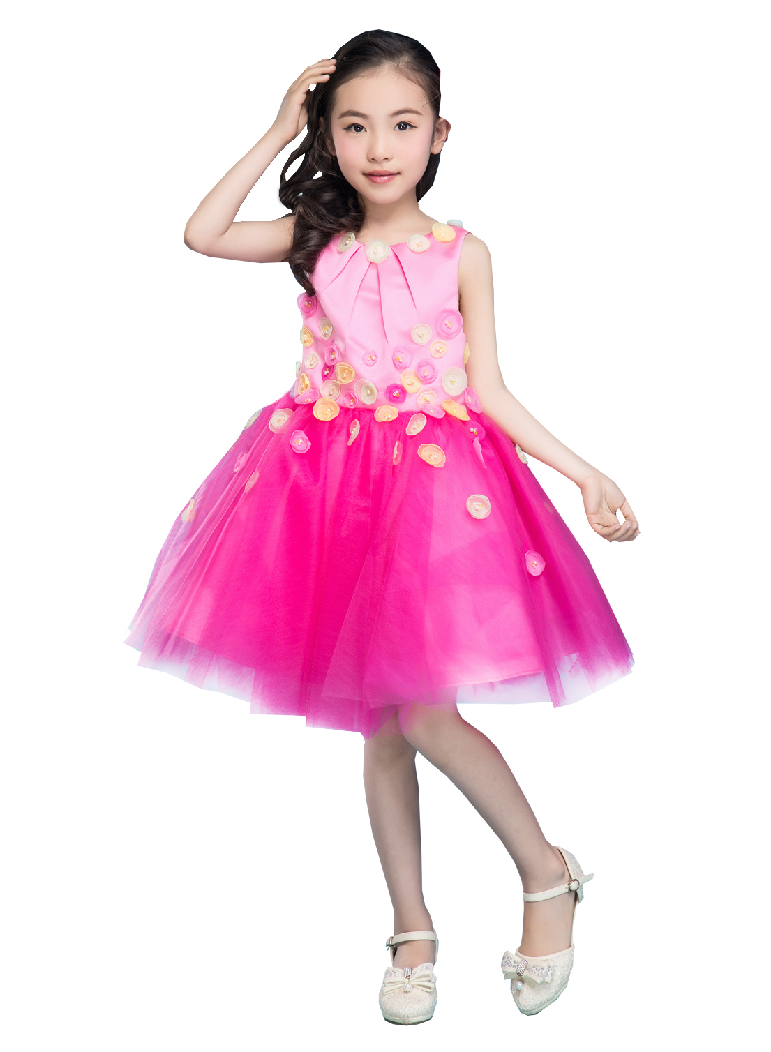Emondora Little Big Girls\' short Dress Flowers Girl Brithday Party ...